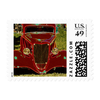 Neon Red Classic Car Stamps