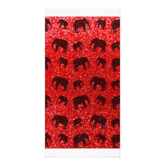 Neon red elephant glitter pattern custom photo card