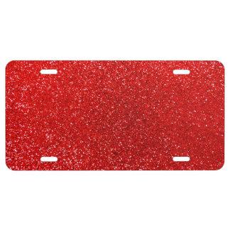 Neon red glitter license plate
