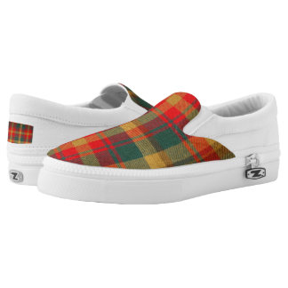 Neon Red/Green/Yellow Plaid Slip On Sneakers