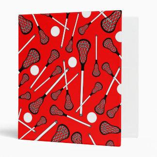 Neon red lacrosse sticks pattern 3 ring binder