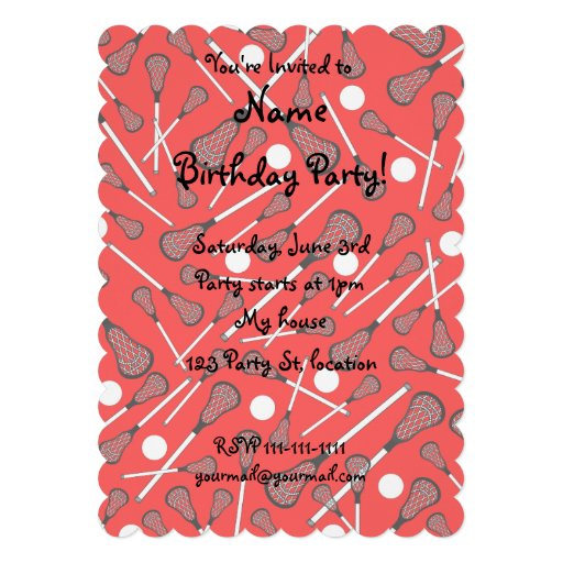 Neon red lacrosse sticks pattern personalized invites