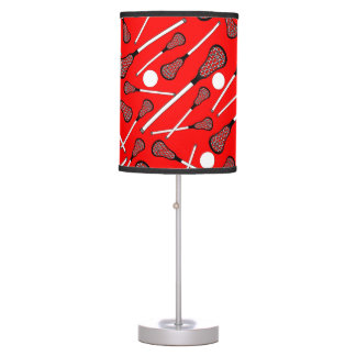 Neon red lacrosse sticks pattern table lamp