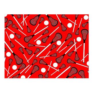 Neon red lacrosse sticks pattern postcard