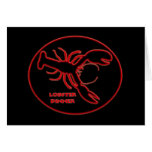 Neon Red Lobster Sign Greeting Cards