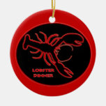 Neon Red Lobster Sign Ornaments