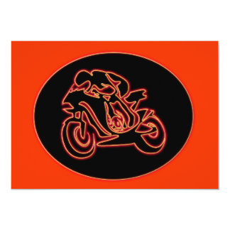 Neon Red Racing Motorcycle Silhouette Card