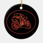 Neon Red Racing Motorcycle Silhouette Double-Sided Ceramic Round Christmas Ornament
