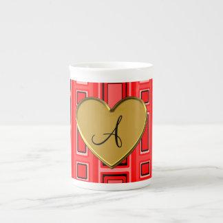 Neon red retro squares monogram bone china mugs