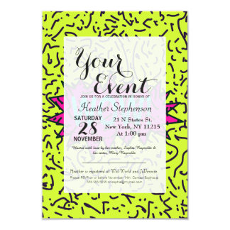 Neon Retro 80's 90's Scribbled Wow! Typography Card