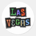 Neón retro de Las Vegas Etiqueta Redonda