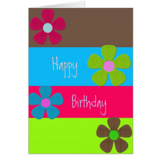 Neon Retro Happy Birthday Greeting Cards
