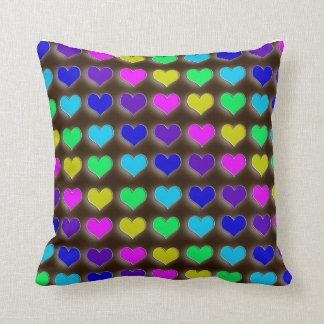 Neon Retro Hearts Pillow