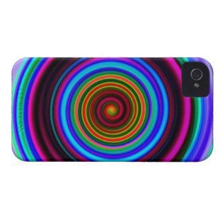 Neon Retro Spiral Circle Pattern iPhone 4 Case