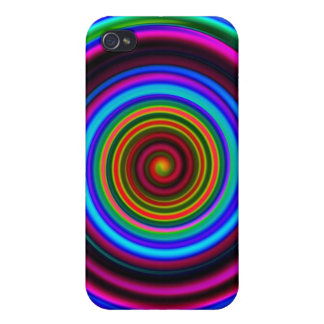 Neon Retro Spiral Circle Pattern iPhone 4 Cover