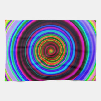 Neon Retro Spiral Circle Pattern Kitchen Towel