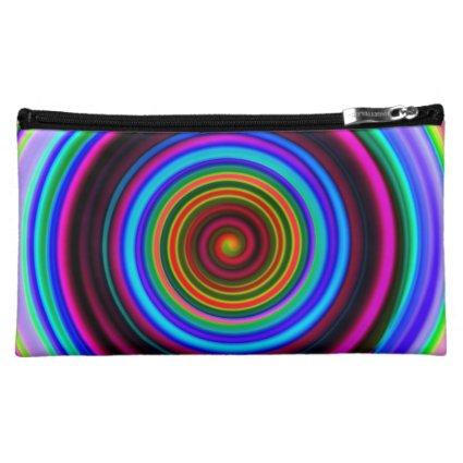 Neon Retro Spiral Circle Pattern Makeup Bag