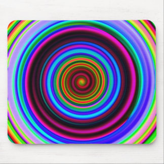 Neon Retro Spiral Circle Pattern Mouse Pad