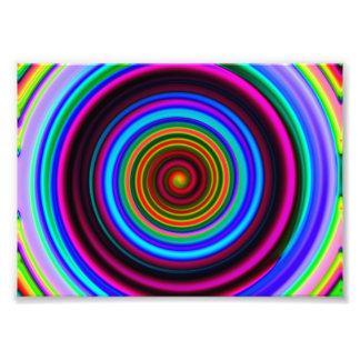 Neon Retro Spiral Circle Pattern Photo Print