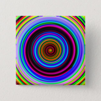 Neon Retro Spiral Circle Pattern Pinback Button