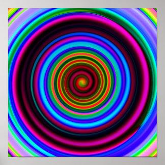Neon Retro Spiral Circle Pattern Print