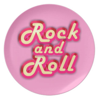 Neon Rock and Roll Melamine Plate