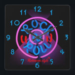 """Neon Rock n&#39; Roll personalized Square Wall Clock<br><div class=""""desc"""">Customizable to your specifics.</div>"""
