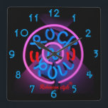 "Neon Rock n&#39; Roll personalized Square Wall Clock<br><div class=""desc"">Customizable to your specifics.</div>"