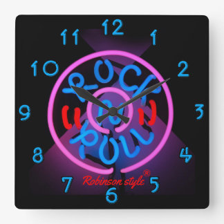 Neon Rock n' Roll personalized Square Wall Clock