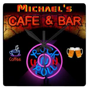 Neon RocknRoll SIGN Bar Cafe ManCave Named Kitchen Square Wall Clock