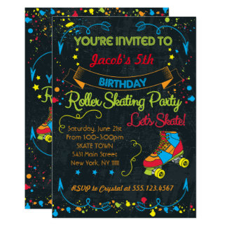 Neon Roller Skate Party Card