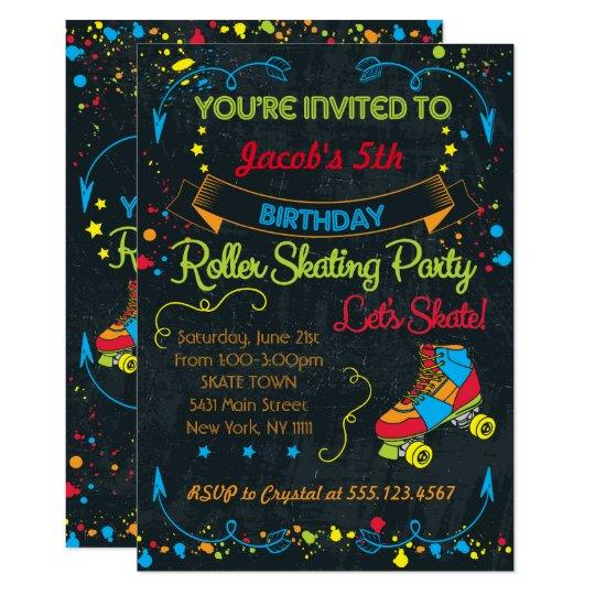Neon Roller Skate Party Invitation Zazzlecom