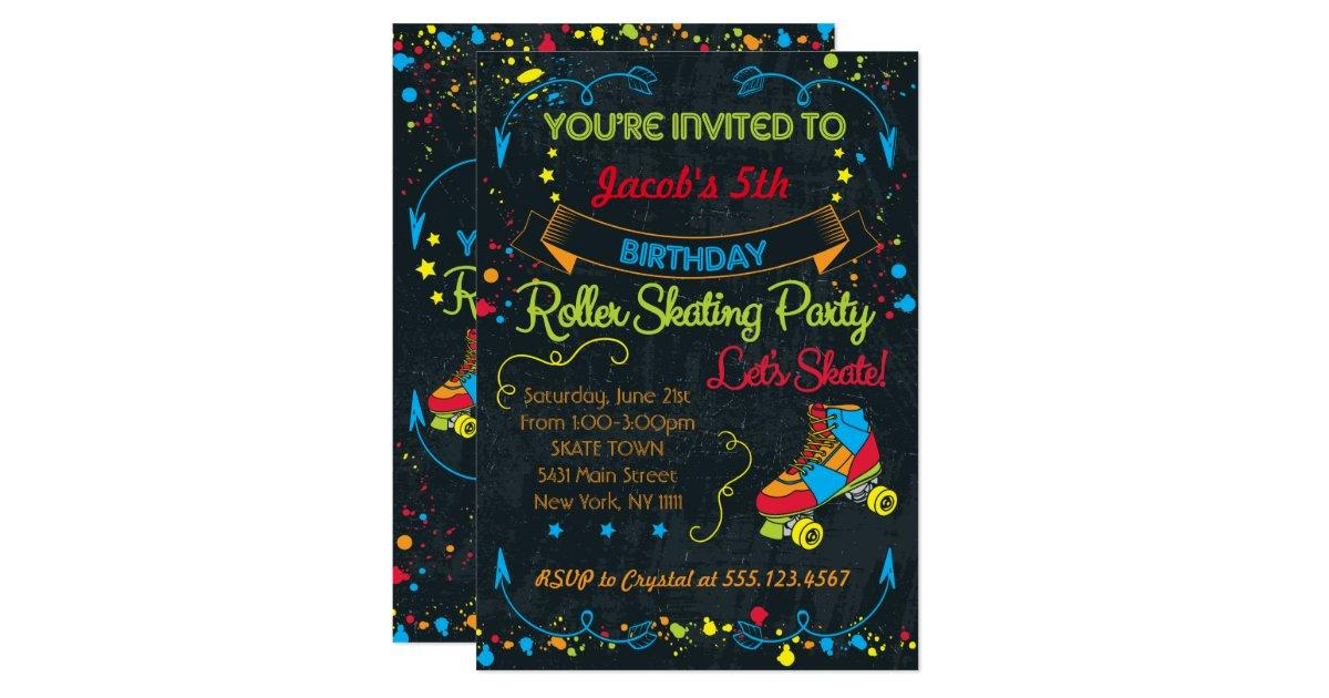 Neon Roller Skate Party Invitation   Zazzle.com
