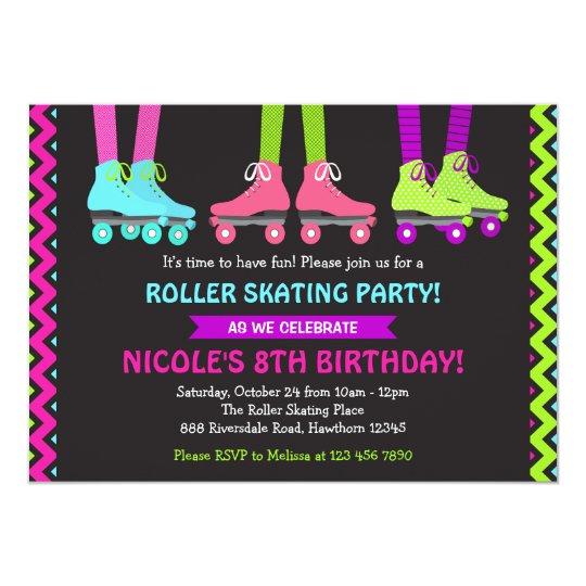 neon roller skating invitation zazzle com
