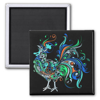 Neon Rooster Magnet