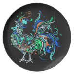 Neon Rooster Plates