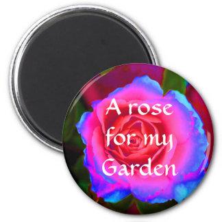 Neon Rose 2 Inch Round Magnet