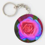 Neon Rose Basic Round Button Keychain