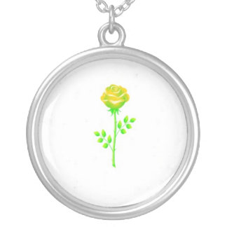 neon rose round pendant necklace