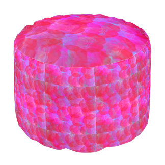 Neon Roses Round Pouf