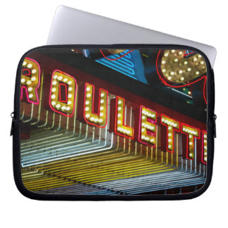 Neon roulette sign at casino, Las Vegas, Nevada Laptop Sleeve