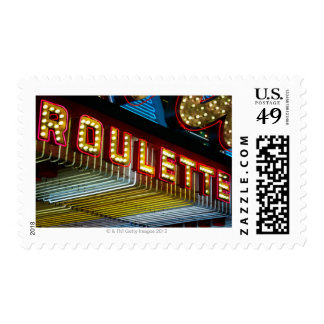 Neon roulette sign at casino, Las Vegas, Nevada Postage Stamps