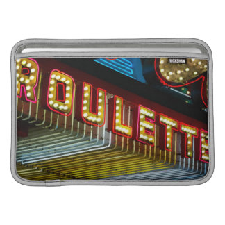Neon roulette sign at casino, Las Vegas, Nevada Sleeves For MacBook Air