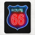 Neon Route 66 Sign Mouse Pad