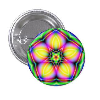 Neon Sacred Geometry Mandala Fractal Button Pin