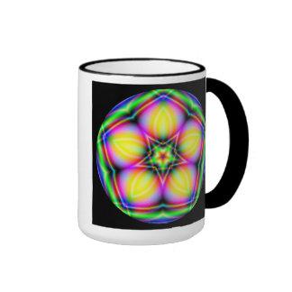 Neon Sacred Geometry Mandala Fractal Coffee Mug