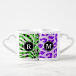 Neon Safari Monogram Couples' Coffee Mug Set