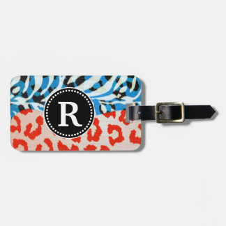 Neon Safari Monogram Red & Blue Tags For Bags