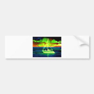 Neon Sailboat Dusk Thirty Ocean Sailing Gifts Bumper Sticker