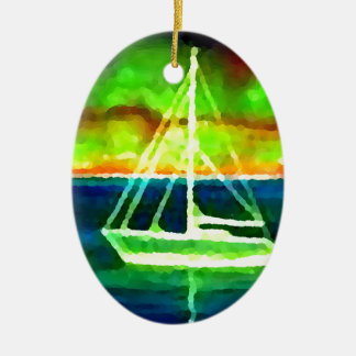 Neon Sailboat Dusk Thirty Ocean Sailing Gifts Double-Sided Oval Ceramic Christmas Ornament